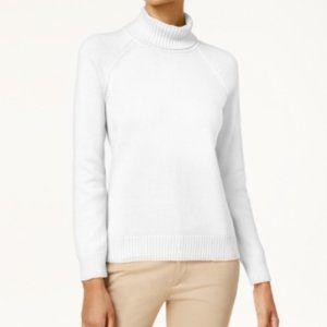 NWT Karen Scott White Cotton Turtleneck Sweater L